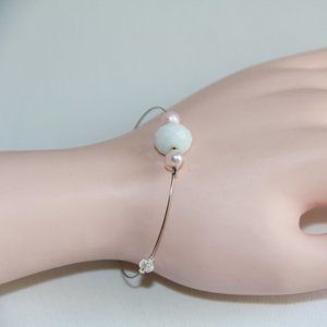 Jewelry - Crystal, Pearl Sterling Silver Flexible Wire Cuff
